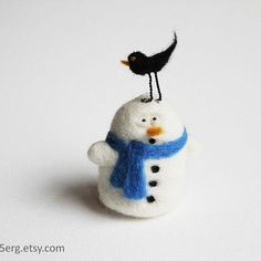Bird on it - Snowman Tree Ornament Needle Felt Christmas Plushie