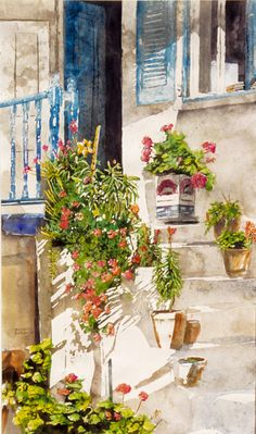 """geranium stairway with olive oil can potted flowers mykonos (1) 22"""" x 10"""" micheal zarowsky / watercolour on arches paper / private collection"""