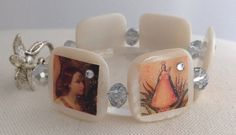 Catholic Icons Mother of Pearl Bracelet on Etsy, $25.00