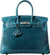 Teal Turquoise Hermes Limited Edition 35cm Matte & Shiny Colvert Porosus Crocodile Ghillies Birkin Bag with Palladium Hardware