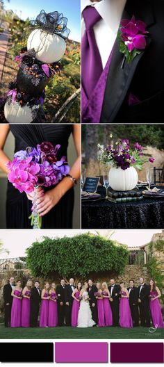 radiant purple and black fall wedding color ideas