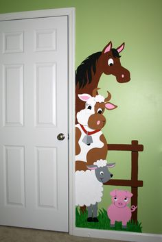 These cute barnyard friends will peek out from behind your doorway in our special Barnyard #doorhugger. What a great way to turn up the fun in any room. The cool part? These are Paint-by-Number wall #murals so anyone can do them! #KidsDecor just got so much more fun!