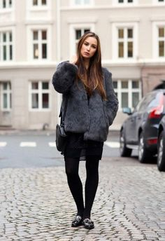 Women's Charcoal Fur Jacket, Black Lace Skater Dress, Black Leopard Leather Tassel Loafers, Black Leather Crossbody Bag