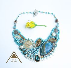 Bead embroidery necklace turquoise asymmetrical necklace OOAK beadwork designer jewellery blue butterfly unique art jewelry seascape wave by LoraViBeadJewelry on Etsy https://www.etsy.com/au/listing/450100278/bead-embroidery-necklace-turquoise