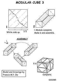 Cube modular origami diagrams - http://www.ikuzoorigami.com/cube-modular-origami-diagrams/