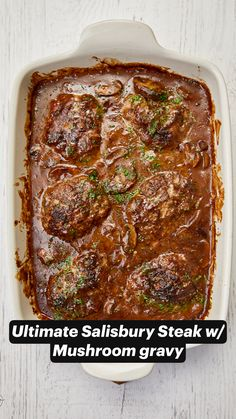 Tender seasoned beef patties smothered in mushrooms & shallots baked in a rich a decadent gravy. Beef Recipes For Dinner, Ground Beef Recipes, Cooking Recipes, Meat Dinner Ideas, Easy Beef Recipes, Bison Recipes, Beef Steak Recipes, Baked Meat Recipes, Beef Meals
