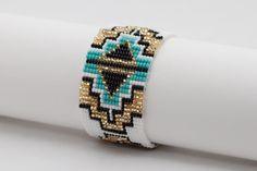 Beaded Bracelet, Handmade Bracelet, Black Blue Gold and White Bracelet, Bead Loom Bracelet Beaded Cuff Bracelet, Bead Loom Bracelets, Beaded Jewelry, Seed Bead Tutorials, Beading Tutorials, Fitness Bracelet, Weaving Projects, Bead Loom Patterns, Tear