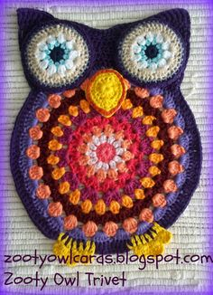 Zooty Owl Trivets: Pattern.....need to make this for my kitchen floor (solid pattern)