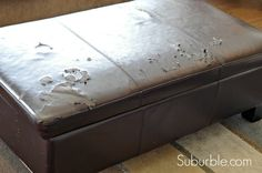 how to re-cover a peeling leather ottoman - perfect!