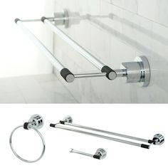 Add a sleek, modern look to your bathroom while enhancing functionality with this chrome-finish bathroom accessory set. This three-piece set is crafted from solid brass with an alluring chrome finish for long-lasting good looks and performance.