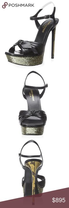 afc89372e6b Saint Laurent Classic Sandal Black Gold Glitter Saint Laurent Sandal