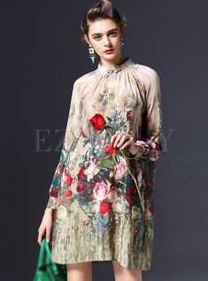 Shop for high quality Stand Collar Print Silk Dress online at cheap prices and discover fashion at Ezpopsy.com