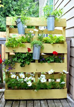 plants in a pallet Small Space Garden with Pallet in pallet garden with Vertical garden Pallets Garden Pallet Privacy Fences, Garden Privacy, Privacy Planter, Pallet Fence, Pallet Porch, Privacy Screens, Pallets Garden, Wood Pallets, Pallet Gardening