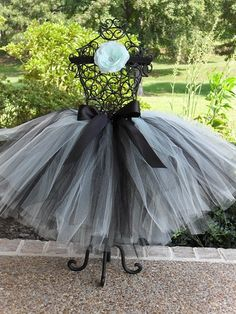 White and Black Tutu with Black Satin Bow in Baby to Adult Sizes by FrillsandFireflies Etsy Shop, $35.00