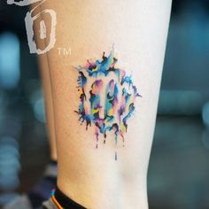 Super creative Watercolor negative space Virgo logo tattoo