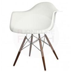 DAW Eames Armchair Replica - Dining Chair Walnut Timber Legs White  $79