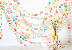 Lovely Summer Picnic Paper Garland By Sweet Things By MaraMay - contemporary - kids decor - Etsy Diy Garland, Garland Wedding, Wedding Decorations, Paper Garlands, Circle Garland, Garland Decoration, Easter Garland, Spring Decorations, Felt Garland