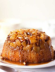 Apple Steamed Pudding With Sticky Toffee Sauce This traditional steamed apple pudding topped with the much-loved sticky toffee sauce is a wonderful toffee apple-flavour combination. It would be delicious for an autumn gathering with crisp walnuts and app Hot Desserts, Pudding Desserts, Pudding Recipes, Delicious Desserts, Pudding Ideas, Filipino Desserts, Health Desserts, Apple Recipes, Baking Recipes