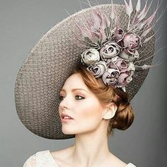 Grey and mauve floral fascinator hat Wedding Hats 1266a4b980fd