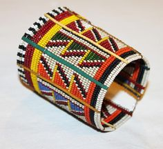 AFRICAN+MAASAI+MASAI+BEADED+TRADITIONAL+ETHNIC+TRIBAL+WIRE+BRACELET+-+KENYA+#02+#Unbranded