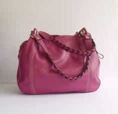 Purple pebble leather handbag / leather bag / by artoncrafts, $145.00