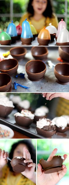 These chocolate bowls are genius! Who doesn't want to eat out of a chocolate bowl? There are step by step pictures for making them on Bakerella. Chocolate Bowls regular sized balloons chocolate cooking spray wax paper Blow up balloons about...
