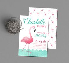 Flamingo Birthday Party Invitation Printable, Pool Party Invite, Swimming Party, Beach Party, Pink & Turquoise, Flamingle Summer Baby Shower