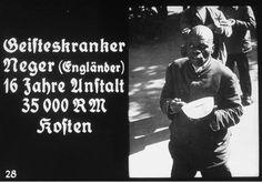 Propaganda slide featuring a mentally ill British black man in an unidentified asylum