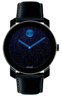 Movado Bold - 42 mm large Movado BOLD watch, black TR90 composite material/stainless steel case, metallic-flecked dark blue dial, K1 crystal, coated black leather strap with purple lining, Swiss quartz movement. Compatible with BOLD Jackets.