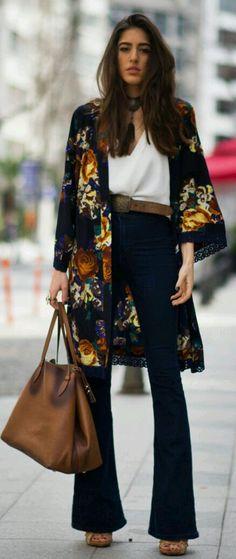Fall kimono, flared jeans