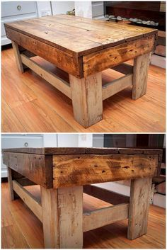 Farmhouse table plans & ideas find and save about table plans . See more ideas about Farm style kitchen plans, Farm table plans and DIY dining room Pallet Crafts, Diy Pallet Projects, Wood Projects, Woodworking Furniture Plans, Pallet Furniture, Woodworking Basics, Teds Woodworking, Recycled Pallets, Wooden Pallets