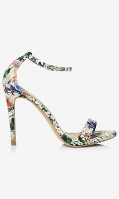 dae6e1a6b380 FLORAL Print Ankle Strap SLEEK SANDALs Heels   EXPRESS  80 Ankle Strap  Sandals