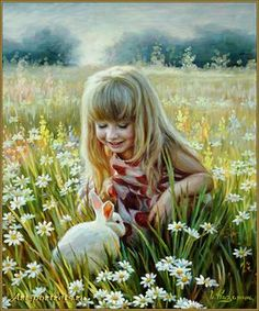 Painting a little girl and a rabbit http://www.art-portrets.ru/oil/painting-a-little-girl-and-rabbit.html