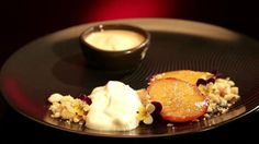 Grilled Peach with Yoghurt Mousse and Peach Sorbet