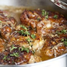 Braised Chicken Thighs: made this, halved recipe and substituted some white white for some of the broth.  Very good!