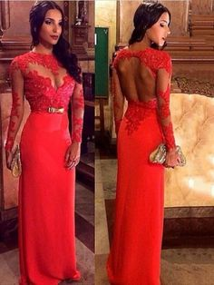 ae2d9e7e73f Red Lace Hollow Waisted Evening Dress