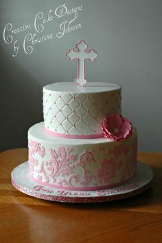 """One of my favorites.  Maybe in lavender color and instead of the cross, use fondant and write Line 1 - """"Amelia Reese"""" Line 2 - """"Baptism"""" Line 3 - """"August 4, 2013"""""""