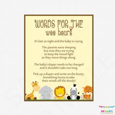 Late Night Diapers Safari Baby Shower  Words for by OhBabyShower