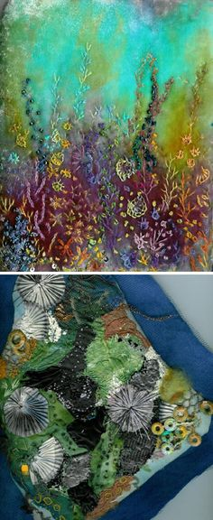 Creative Textile Art - forgetting the rules: Rosemarie Smith Textile Fiber Art, Textile Artists, Sewing Art, Sewing Crafts, Felt Pictures, Creative Textiles, Textiles Techniques, Fabric Journals, Thread Painting