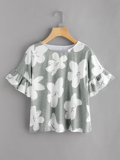 Shop Random Flower Print Frill Cuff Tee online. SheIn offers Random Flower Print Frill Cuff Tee & more to fit your fashionable needs.