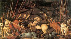 Paolo Ucello, La Bataille de San Romano -   La défaite du camp siennois illustrée par la mise hors de combat de Bernardino della Ciarda, (~1456) huile sur bois de 3,23 m × 1,82 m (Galerie des Offices de Florence, Italie), seul panneau signé.