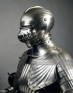 Stock Photo : Helmet from armor of man-at-arms in steel, made in Innsbruck by…