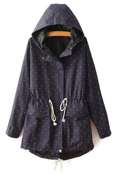 Polka Dot Long Sleeve Hooded Coat