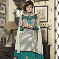Off White and Teal Blue Faux Crepe Churidar Kameez