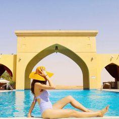Pool in the Desert of Abu Dhabi Tilal Liwa Hotel @chiclebelle
