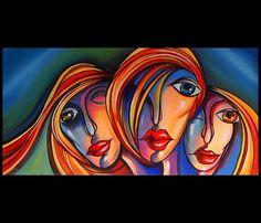 Schilderij Abstracte gezichten 5907