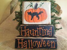 Primitive Halloween Pumpkin and Cat Haunting Halloween Shelf Sitter Wood Blocks #PrimitiveCountry
