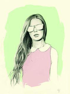 Fashion Illustration Print 8x10 'Under Wear' por sharntay en Etsy