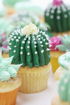 These Succulent cupcakes are a fun to way treat anyone who loves succulents! Imagine inviting the kids to help and creating memories as well as delicious cupcakes! | Food Recipes | Sweet Desserts #dessert