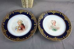 Antique PAIR french SEVRES porcelain plates Louis XVI Marie-antoinette marked 2…